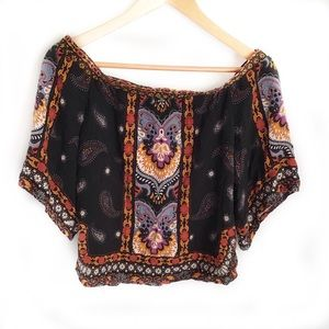 JEALOUS TOMATO Boho Crop Top Cold Shoulder Small
